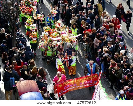 London, Uk - 14 February 2016: Chinese New Year Children In Chinese New Year 2016
