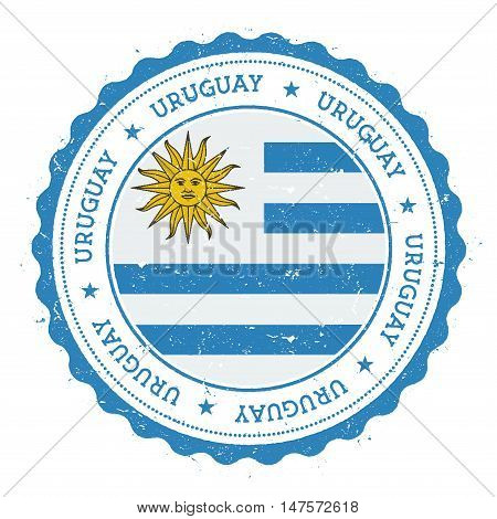 Grunge Rubber Stamp With Uruguay Flag. Vintage Travel Stamp With Circular Text, Stars And National F