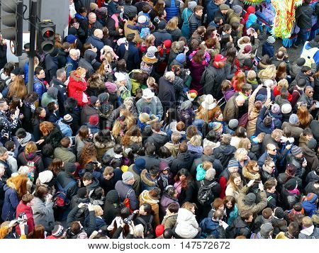 London, Uk - 14 February 2016: Crowd For Chinese New Year 2016