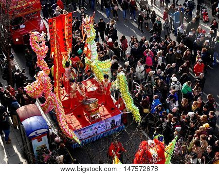 London, Uk - 14 February 2016: Chinese New Year Drum Performance Wagon In Chinese New Year 2016