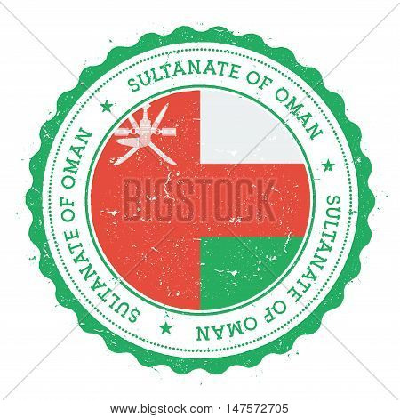 Grunge Rubber Stamp With Oman Flag. Vintage Travel Stamp With Circular Text, Stars And National Flag