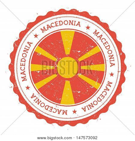 Grunge Rubber Stamp With Macedonia, The Former Yugoslav Republic Of Flag. Vintage Travel Stamp With