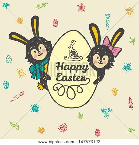 Happy Easter card with rabbits and egg. Vector illustration of Easter ornamental card with hare on beige background.