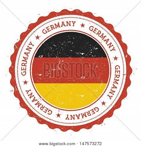 Grunge Rubber Stamp With Germany Flag. Vintage Travel Stamp With Circular Text, Stars And National F