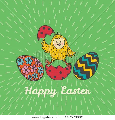 Happy Easter card with chick and eggs. Vector illustration of Easter ornamental card with chick on green background.