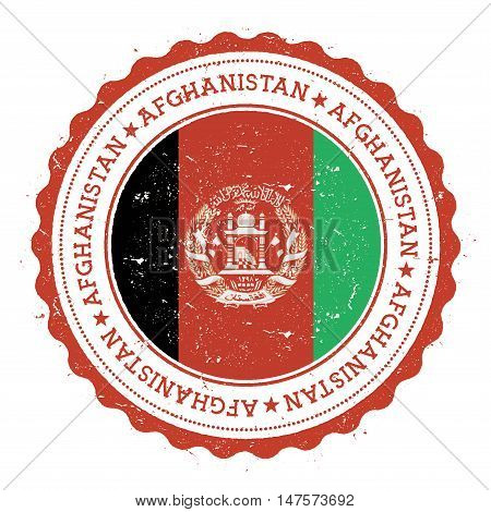 Grunge Rubber Stamp With Afghanistan Flag. Vintage Travel Stamp With Circular Text, Stars And Nation