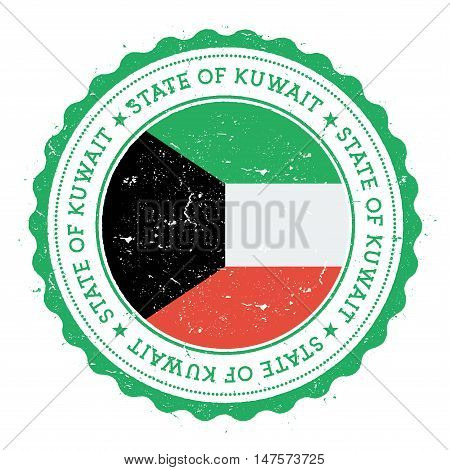 Grunge Rubber Stamp With Kuwait Flag. Vintage Travel Stamp With Circular Text, Stars And National Fl