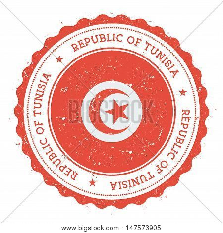 Grunge Rubber Stamp With Tunisia Flag. Vintage Travel Stamp With Circular Text, Stars And National F