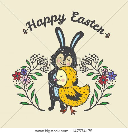 Happy Easter card with rabbit and chick. Vector illustration of Easter ornamental card with Bunny and chick on beige background.