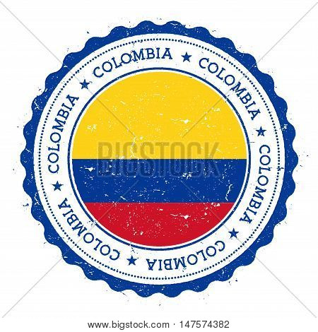 Grunge Rubber Stamp With Colombia Flag. Vintage Travel Stamp With Circular Text, Stars And National