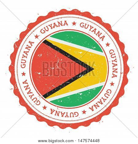 Grunge Rubber Stamp With Guyana Flag. Vintage Travel Stamp With Circular Text, Stars And National Fl