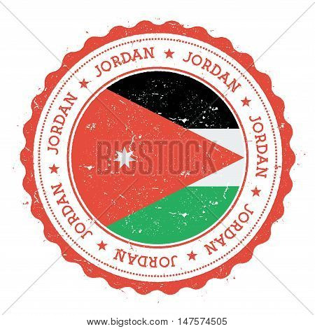 Grunge Rubber Stamp With Jordan Flag. Vintage Travel Stamp With Circular Text, Stars And National Fl
