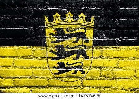 Flag Of Baden-wurttemberg With Coat Of Arms, Germany, Painted On Brick Wall