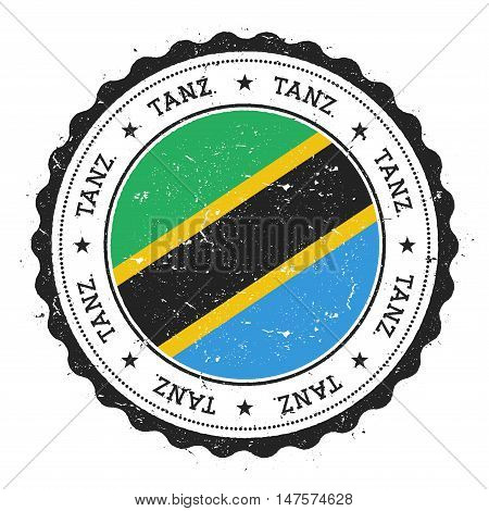 Grunge Rubber Stamp With Tanzania, United Republic Of Flag. Vintage Travel Stamp With Circular Text,