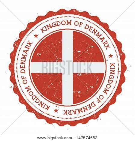 Grunge Rubber Stamp With Denmark Flag. Vintage Travel Stamp With Circular Text, Stars And National F