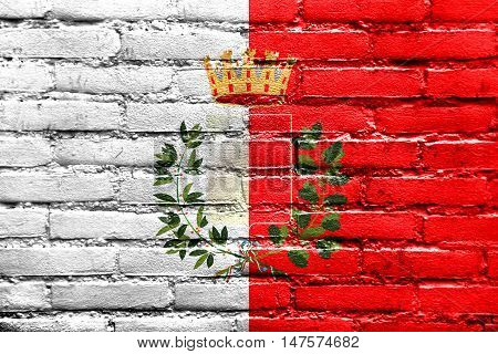 Flag Of Bari With Coat Of Arms, Italy, Painted On Brick Wall