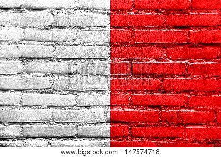 Flag Of Bari, Italy, Painted On Brick Wall