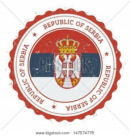 Grunge Rubber Stamp With Serbia Flag. Vintage Travel Stamp With Circular Text, Stars And National Fl