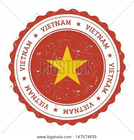 Grunge Rubber Stamp With Vietnam Flag. Vintage Travel Stamp With Circular Text, Stars And National F