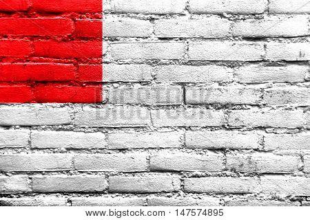 Flag Of Bilbao, Spain, Painted On Brick Wall