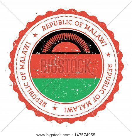 Grunge Rubber Stamp With Malawi Flag. Vintage Travel Stamp With Circular Text, Stars And National Fl