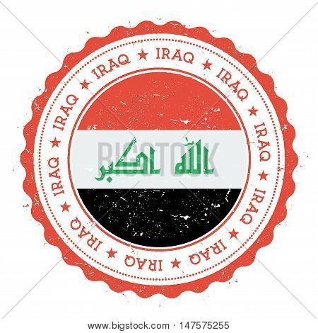 Grunge Rubber Stamp With Iraq Flag. Vintage Travel Stamp With Circular Text, Stars And National Flag