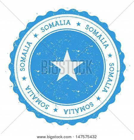 Grunge Rubber Stamp With Somalia Flag. Vintage Travel Stamp With Circular Text, Stars And National F