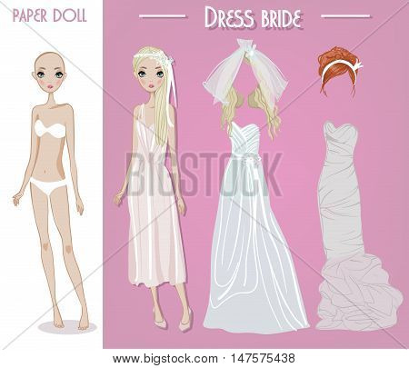 cartoon vector bride girl doll with clothes for changes