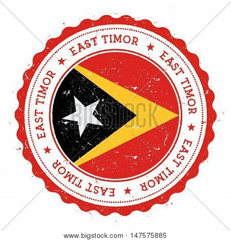 Grunge Rubber Stamp With Timor-leste Flag. Vintage Travel Stamp With Circular Text, Stars And Nation