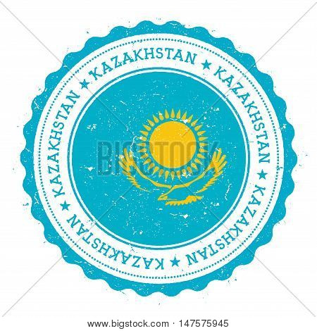 Grunge Rubber Stamp With Kazakhstan Flag. Vintage Travel Stamp With Circular Text, Stars And Nationa
