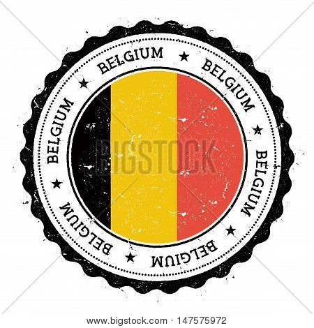 Grunge Rubber Stamp With Belgium Flag. Vintage Travel Stamp With Circular Text, Stars And National F