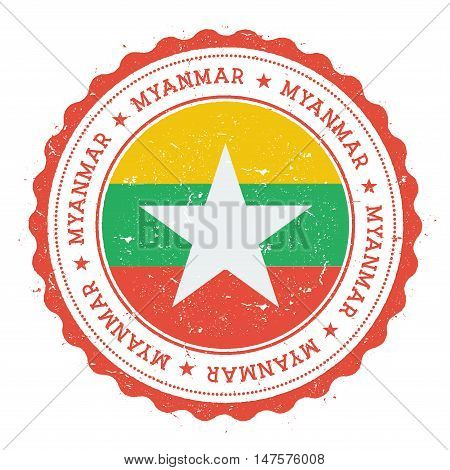 Grunge Rubber Stamp With Myanmar Flag. Vintage Travel Stamp With Circular Text, Stars And National F