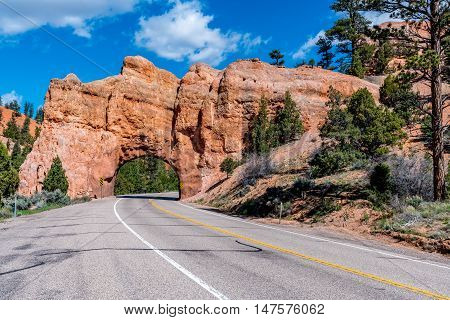 Colorful Road Tunnel Near Bryce Canyon National Park, Utah.