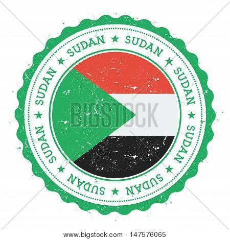 Grunge Rubber Stamp With Sudan Flag. Vintage Travel Stamp With Circular Text, Stars And National Fla