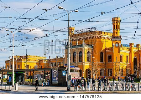 WROCLAW, POLAND - MARCH 19, 2016: Wroclaw Main Railway Station located in the 19th century building recently generally renovated, the largest railway station of the Lower Silesian Voivodeship.