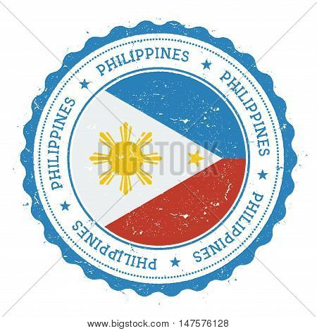 Grunge Rubber Stamp With Philippines Flag. Vintage Travel Stamp With Circular Text, Stars And Nation