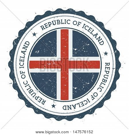 Grunge Rubber Stamp With Iceland Flag. Vintage Travel Stamp With Circular Text, Stars And National F