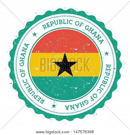 Grunge Rubber Stamp With Ghana Flag. Vintage Travel Stamp With Circular Text, Stars And National Fla