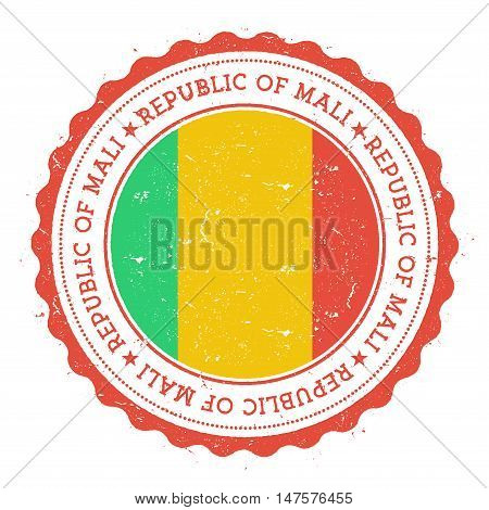 Grunge Rubber Stamp With Mali Flag. Vintage Travel Stamp With Circular Text, Stars And National Flag