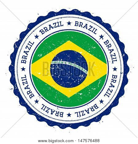 Grunge Rubber Stamp With Brazil Flag. Vintage Travel Stamp With Circular Text, Stars And National Fl