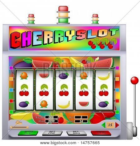 Cherry slot machine vector illustration with various types of fruit
