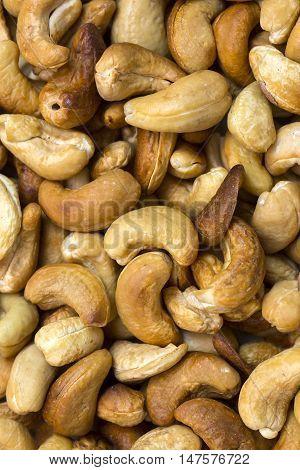background cashew close- up shot Peeled Cashew