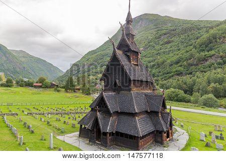 Borgund Stavkirke (wooden church) in Hordaland, Norway