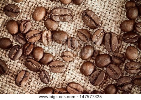 Roasted coffee beans on burlap sack background