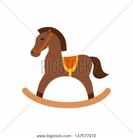 Rocking horse isotated icon. Vector horse toy silhouette illustration. Concept of wooden horse toy. Wood rocking horse isotated for your design. Shape of horse toy isolated.