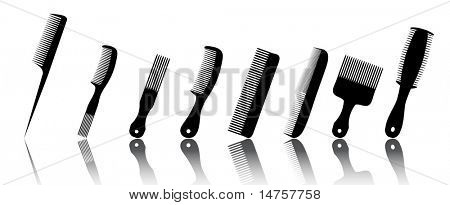 collection beauty hair salon or barber comb vector illustration