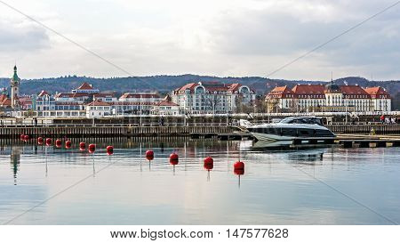 SOPOT, POLAND - APRIL 09, 2016: Skyline of Sopot, a major health-spa and tourist resort on the Polish Baltic Sea coast with two luxury hotels-  old style Sofitel Grand and modern Sheraton.
