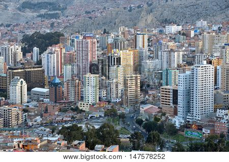 LA PAZ BOLIVIA - August 26 2016: Panorama of La Paz Bolivia on August 26 2016. La Paz in Bolivia is the highest administrative capital in the world