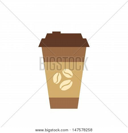 Coffee cup  flat icon. Vector coffee to go cup silhouette illustration. Concept of tee glass silhouette. Colorful tee glass icon for your design. Flat cartoon coffee cup silhouette isolated.