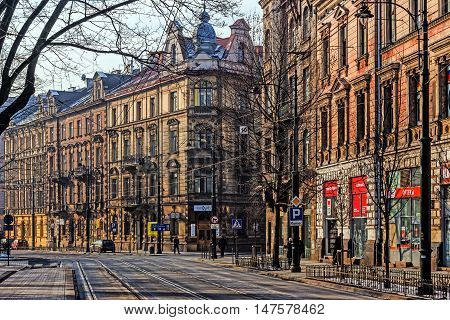 KRAKOW, POLAND - JANUARY 23, 2016: Cityscape of Krakow, the most popular destination in Poland full of numerous attractions for tourists i.a. Wawel Royal Castle historical seat of Polish kings.